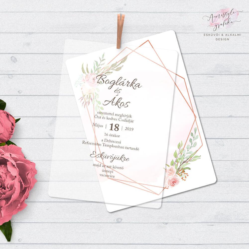 Pausz Papíros Esküvői Meghívó Geometrikus Mintával