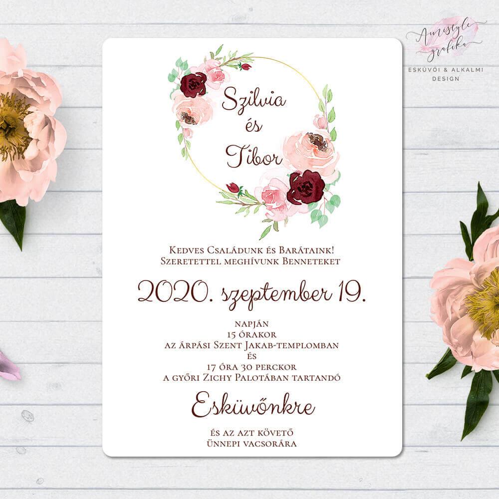 Rusztikus Púder Egylapos Akvarell Esküvői Meghívó