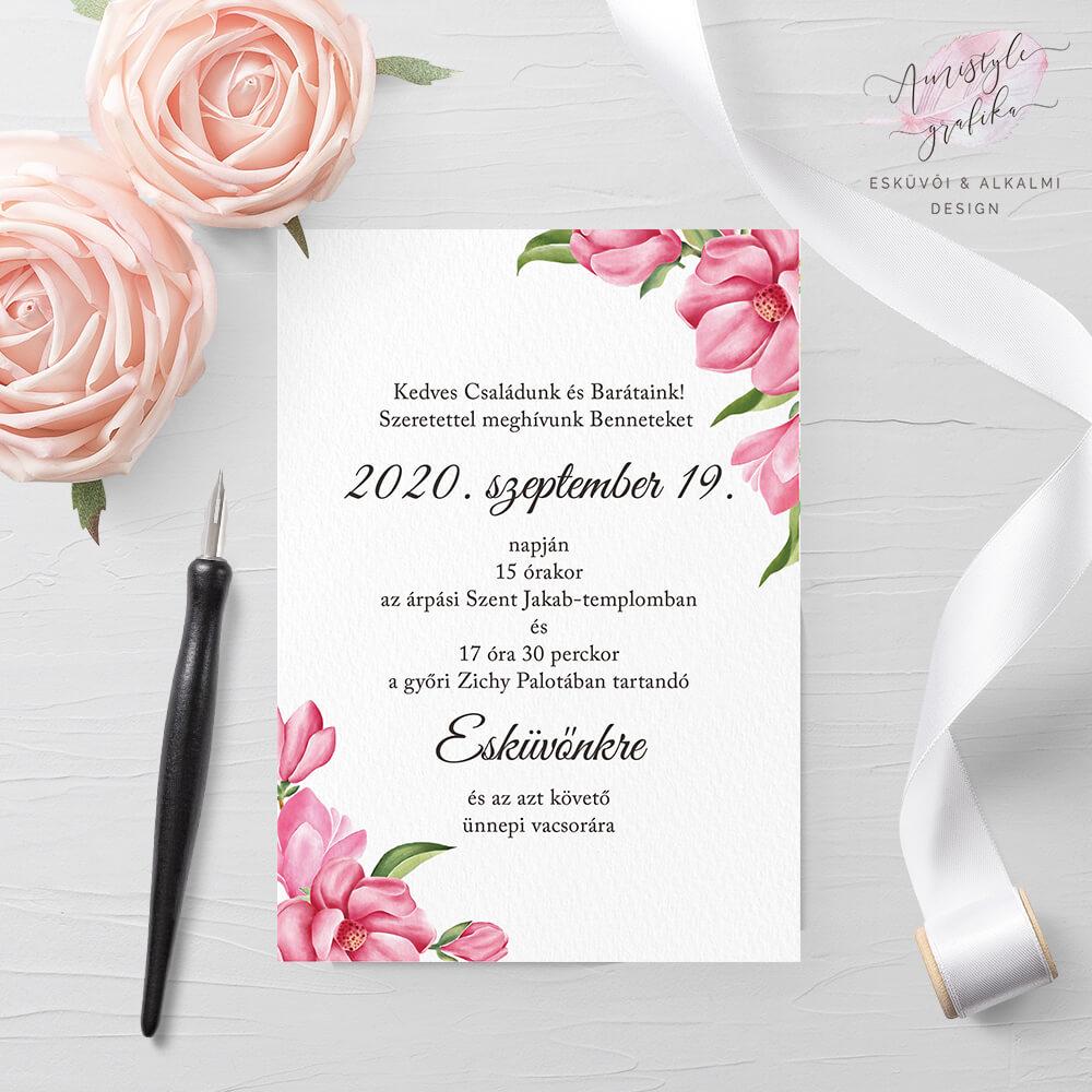 Pink Magnólia Egylapos Esküvői Meghívó