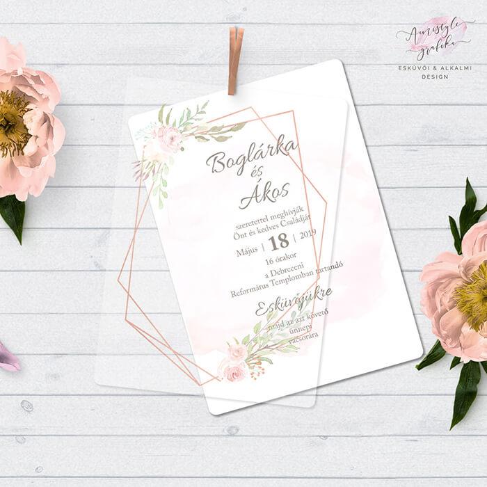 Pausz Esküvői Meghívó Geometrikus Mintával