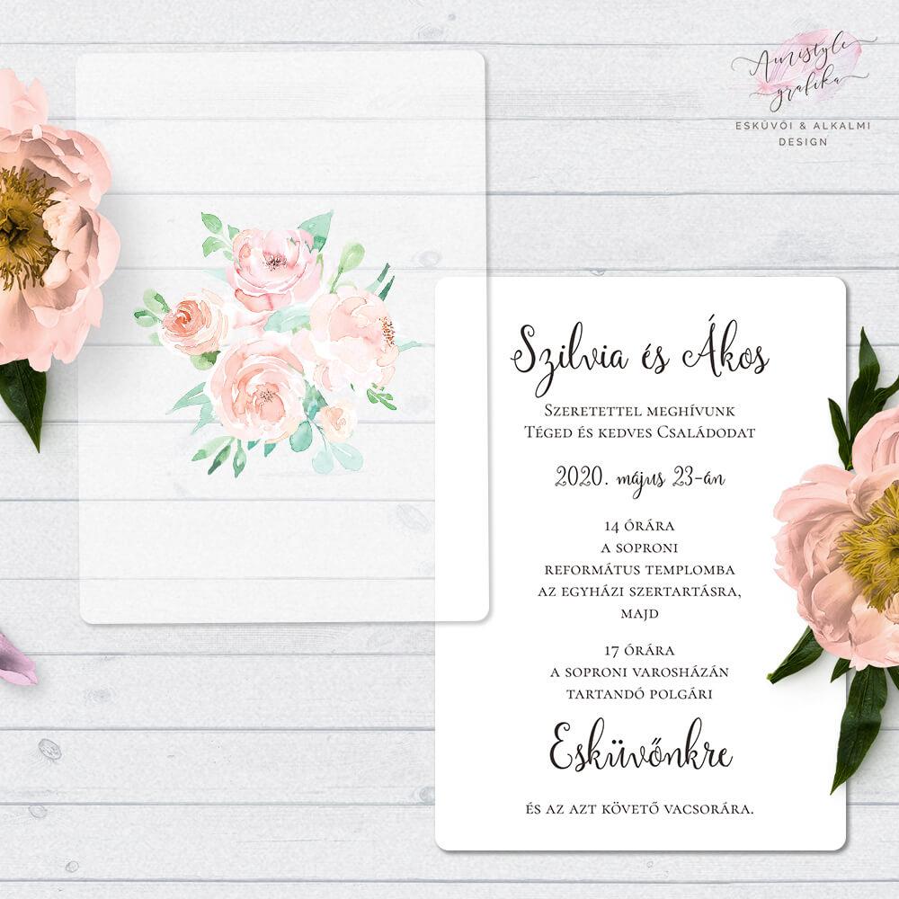 Akvarellvirágos Pausz Esküvői Meghívó