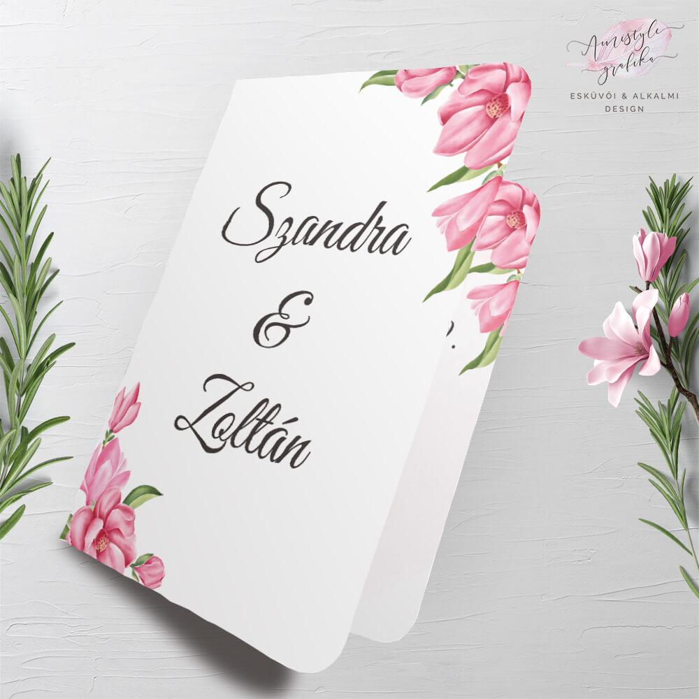 Magnóliás Akvarell Hajtott Esküvői Meghívó