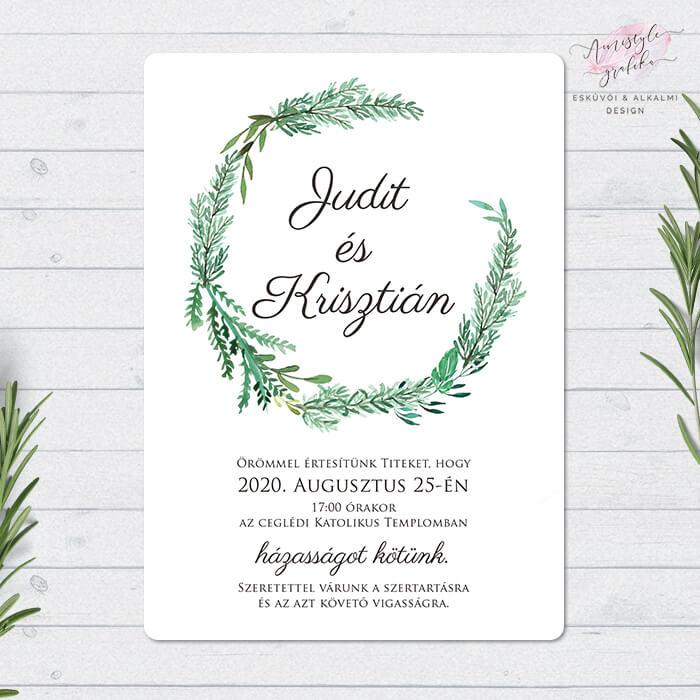 Rozmaringos Egylapos Esküvői Meghívó