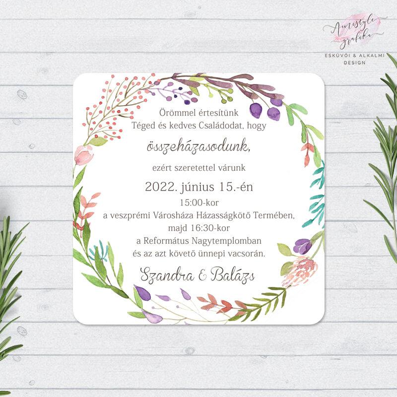 Virágkoszorús Négyzetes Esküvői Meghívó