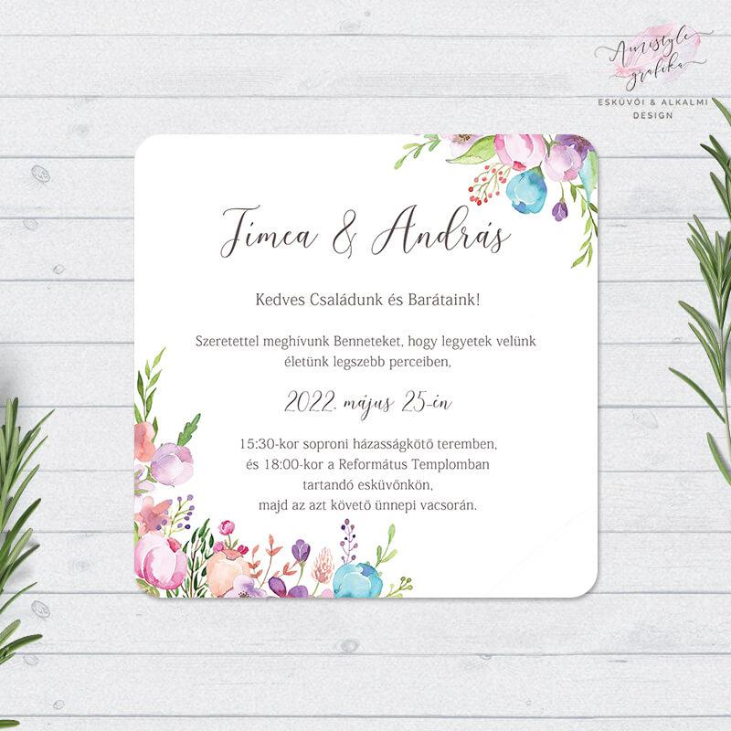 Virágos Akvarell Négyzetes Esküvői Meghívó