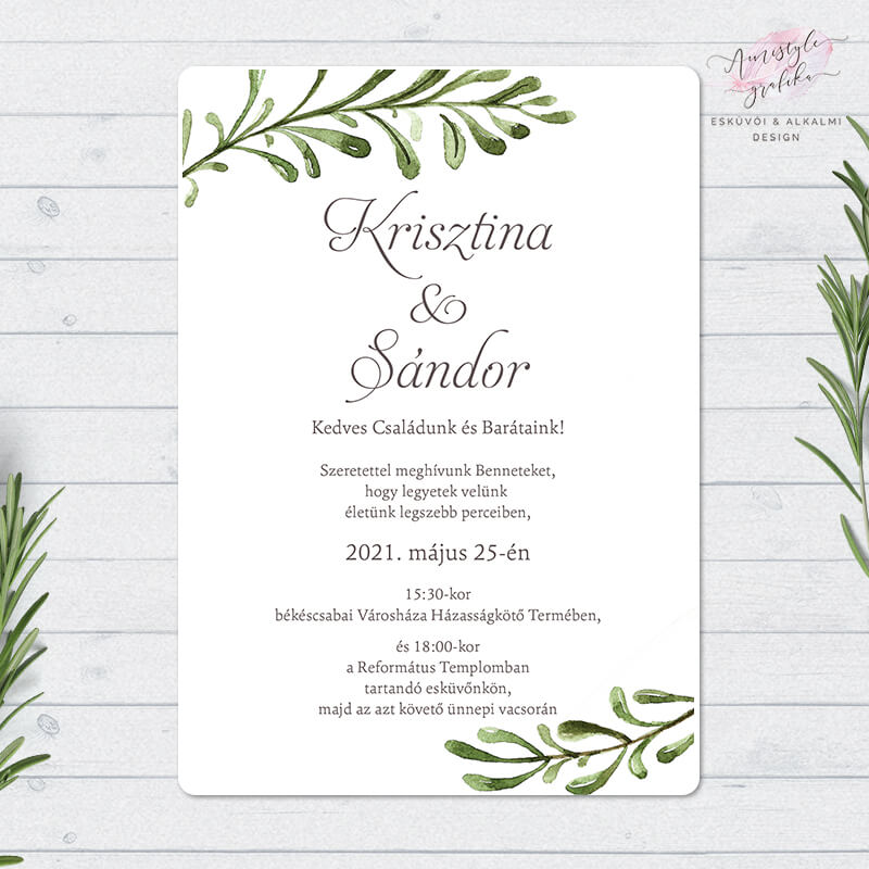 Greenery Festett Mintás Kétoldalas Esküvői Meghívó