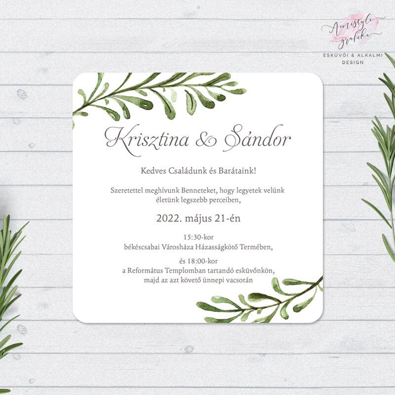 Greenery Négyzetes Esküvői Meghívó