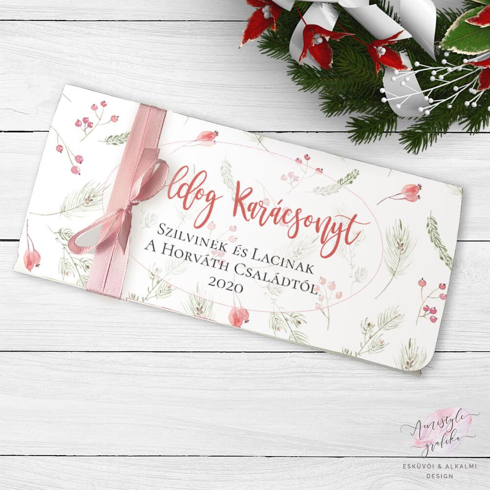 Karácsonyi Bogyós Ajándék Pénzátadó Boríték