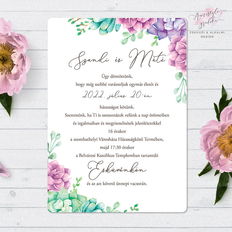 Kövirózsás Egylapos Esküvői Meghívó