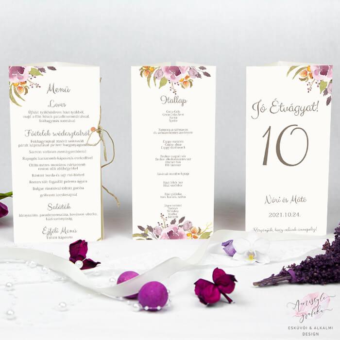 Bordó Virágos Esküvői Háromszög Menü