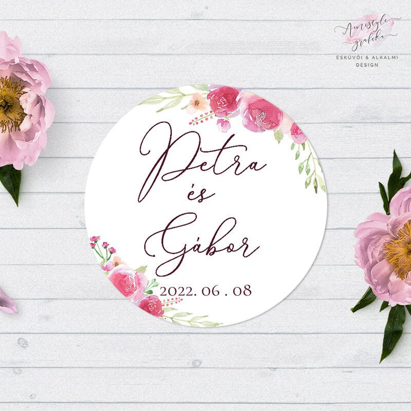 Pink Barack Virágos Borítékzáró Matrica