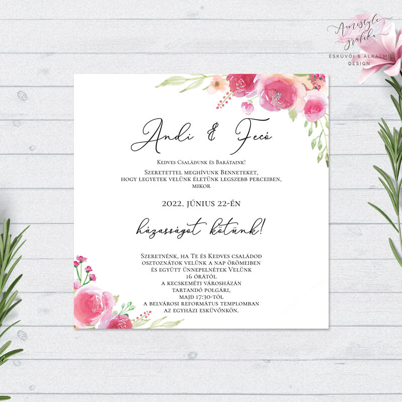 Vintage Virágos Négyzetes Esküvői Meghívó