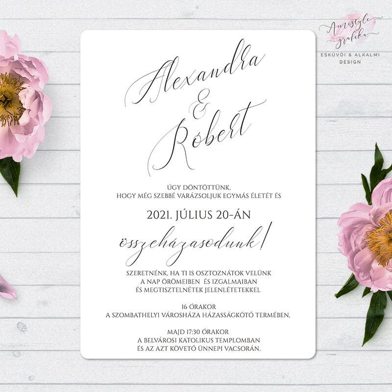 Minimalista Kalligrafikus Egylapos Esküvői Meghívó