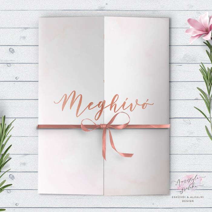Rosegold Pink Kétoldalra Nyitható Esküvői Meghívó