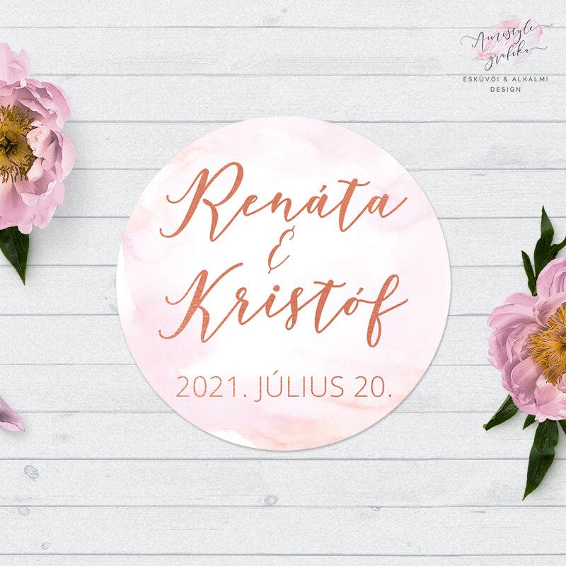 Rosegold Pink Virágos Borítékzáró Matrica