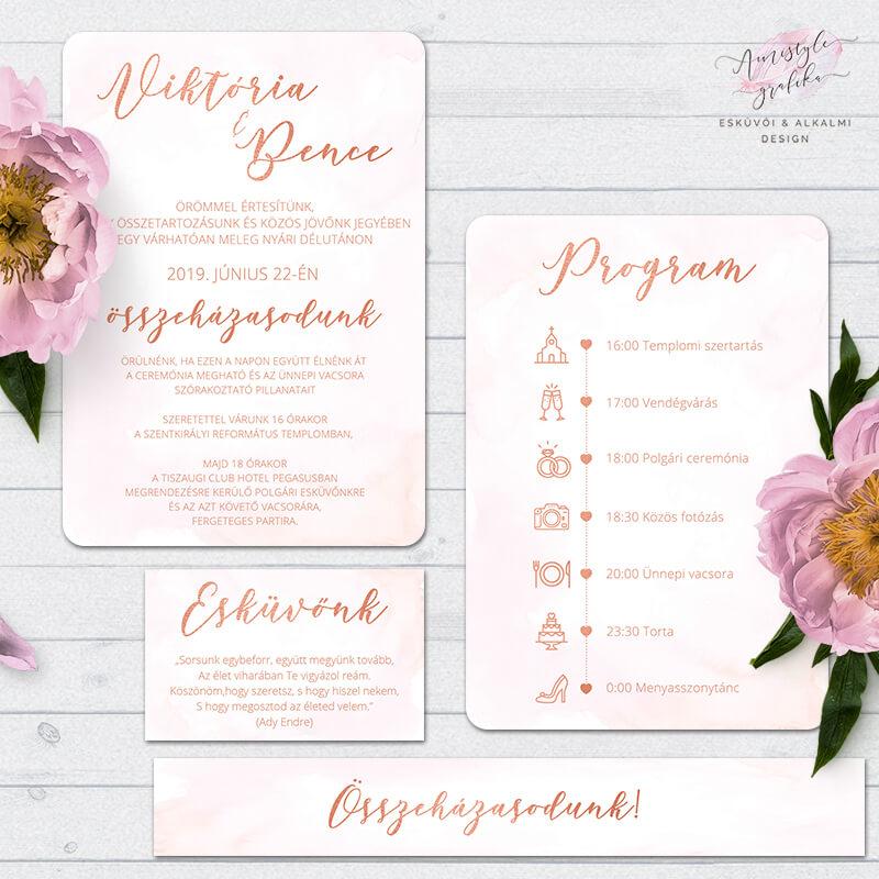 Rosegold Esküvői Meghívó Szett Gyöngyház Papíron
