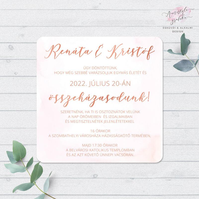 Rosegold Pink Négyzetes Esküvői Meghívó