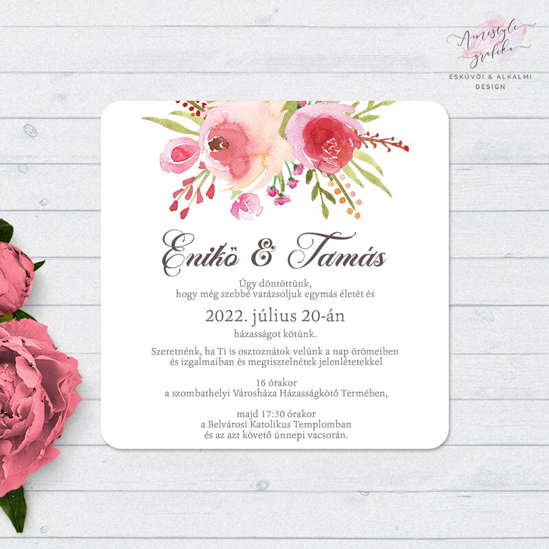 Rózsás Akvarell Négyzetes Esküvői Meghívó