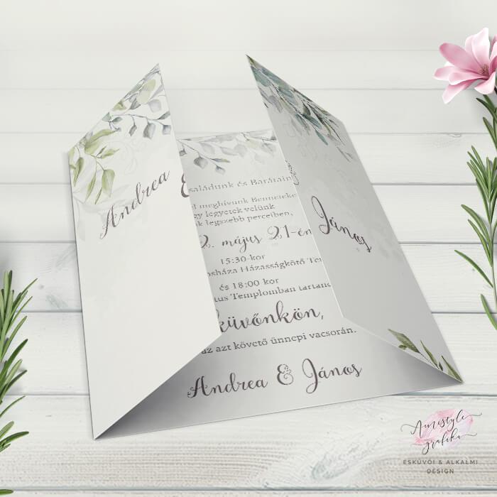 Boho Greenery Ablakos Esküvői Meghívó