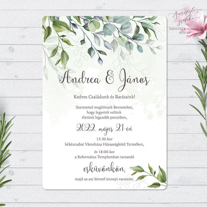 Boho Greenery Egylapos Esküvői Meghívó