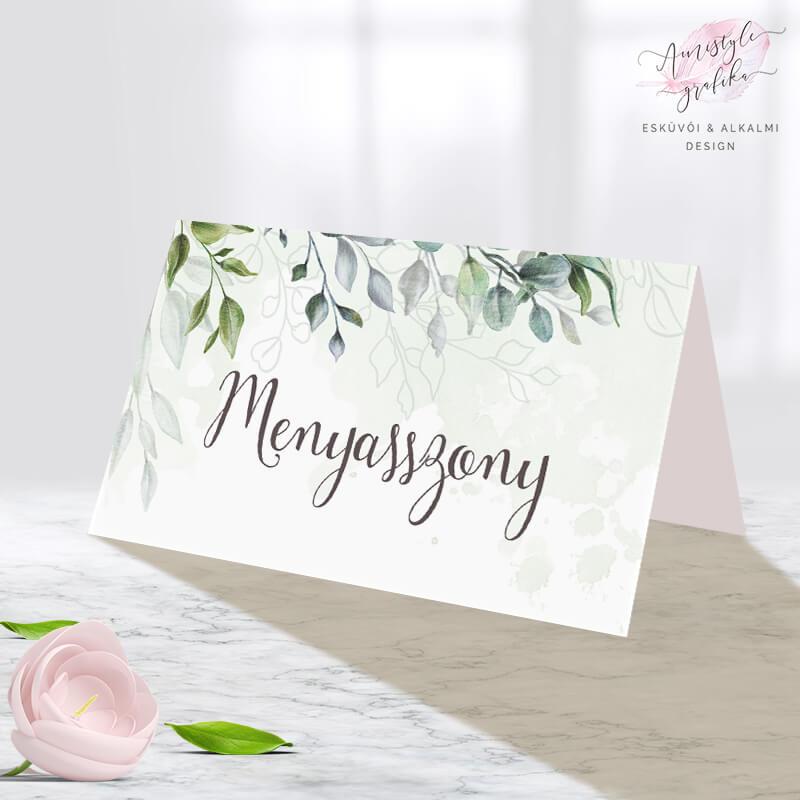 Boho Greenery Zöldleveles Esküvői Ültetőkártya
