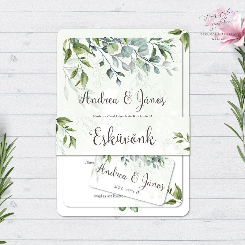 Boho Greenery Esküvői Meghívó Szett