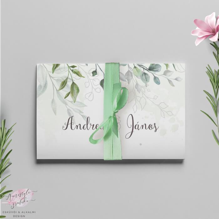 Boho Greenery Akvarell Harmonika Esküvői Meghívó
