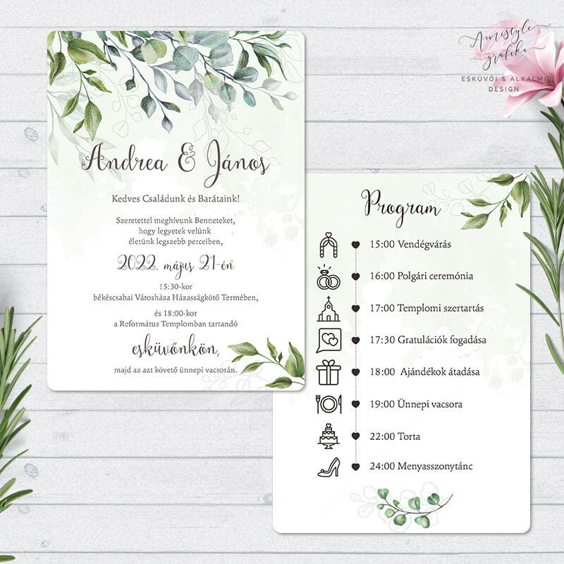 Greenery Boho Festett Mintás Kétoldalas Esküvői Meghívó