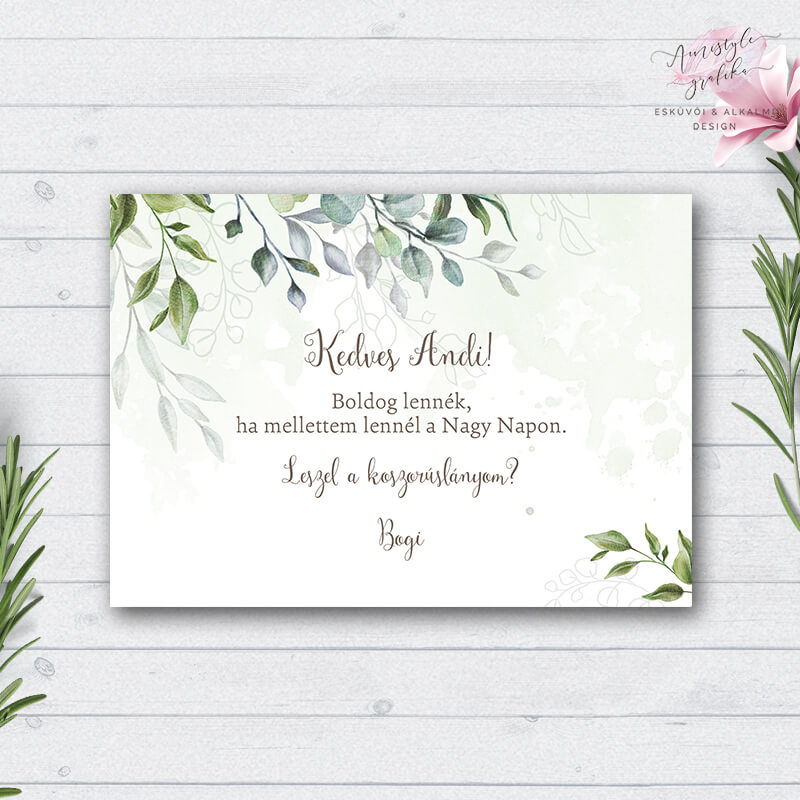 Boho Greenery Zöldleveles Esküvői Koszorúslány Felkérő Lap