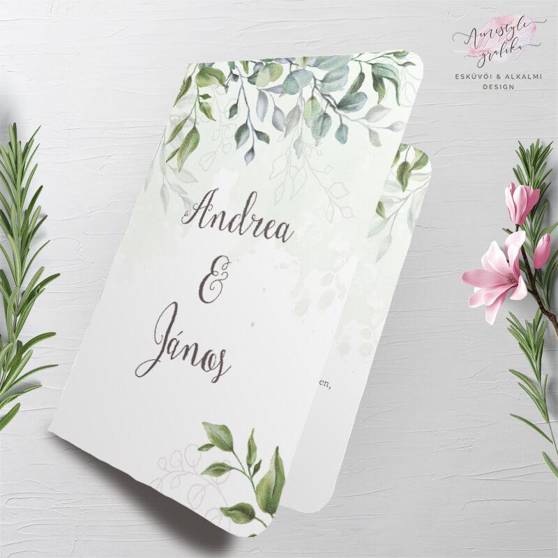 Zöldleveles Akvarell Hajtott Esküvői Meghívó