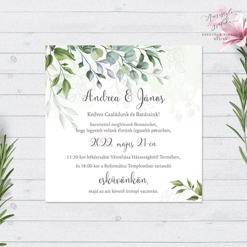 Modern Greenery Négyzetes Esküvői Meghívó