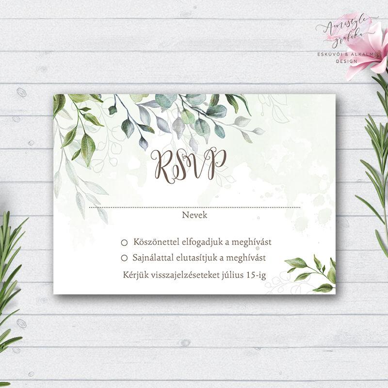 Akvarell és Greenery Esküvői RSVP Válaszkártya