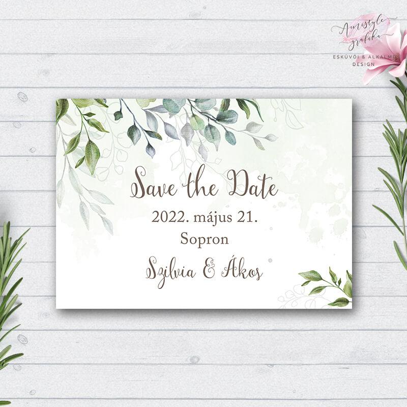 Boho Greenery Esküvői Save the Date Értesítő Lap