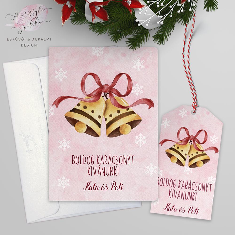 Csengettyűs Karácsonyi Képeslap Ajándékcímkével