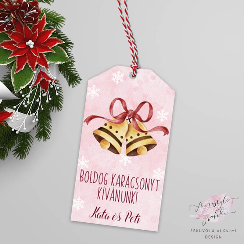 Karácsonyi Csengettyűs Ajándékkísérő Kártya