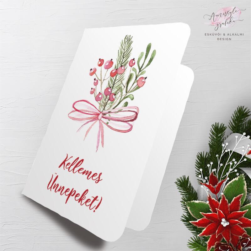 Masnis Karácsonyi Üdvözlőlap Ajándékcímkével - Fehér