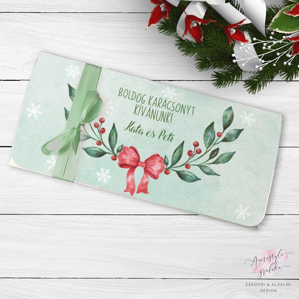 Karácsonyi Ágas Masnis Ajándék Pénzátadó Boríték
