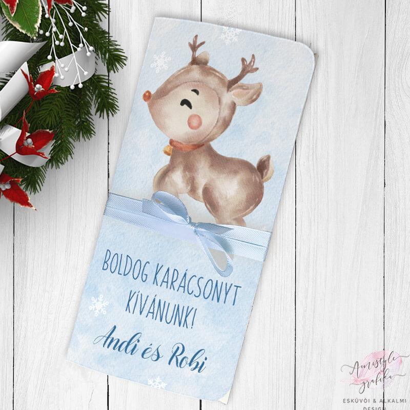 Karácsonyi Rénszarvasos Ajándék Pénzátadó Boríték