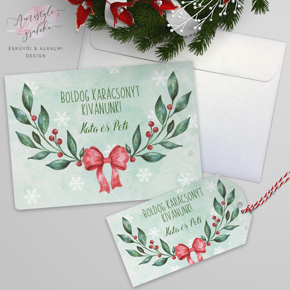 Karácsonyi Ágas-Masnis Nyitható Képeslap Ajándékcímkével