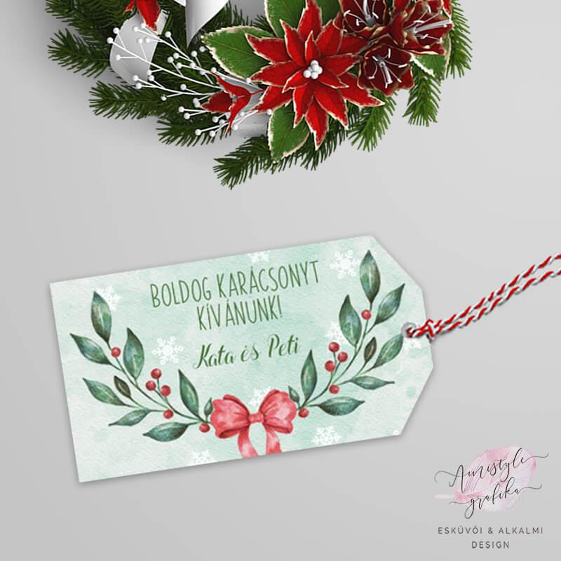 Karácsonyi Ágas-Masnis Ajándékkísérő Kártya