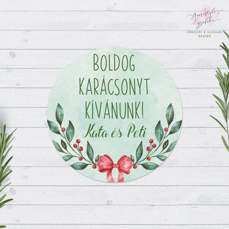 Karácsonyi Ágas Masnis Ajándékkísérő Matrica