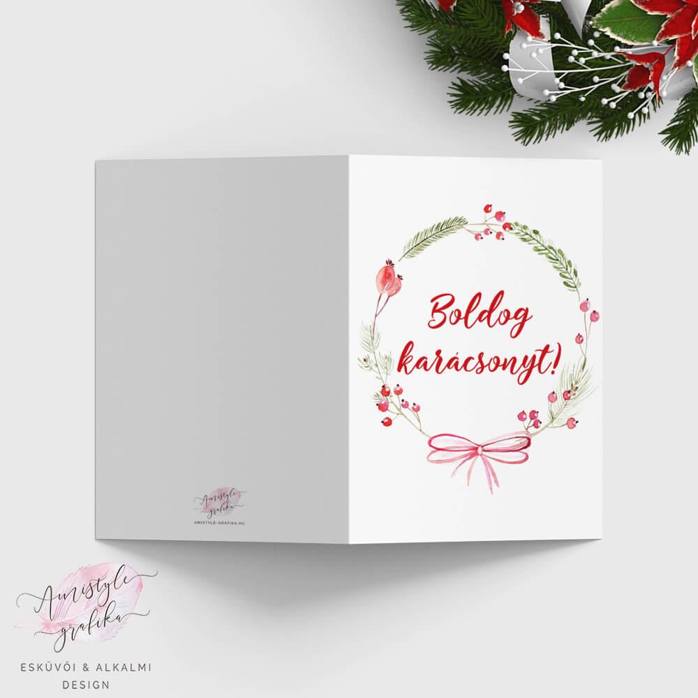 Karácsonyi Koszorús Képeslap