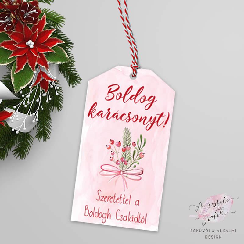 Karácsonyi Masnis Ajándékkísérő Kártya - Púder