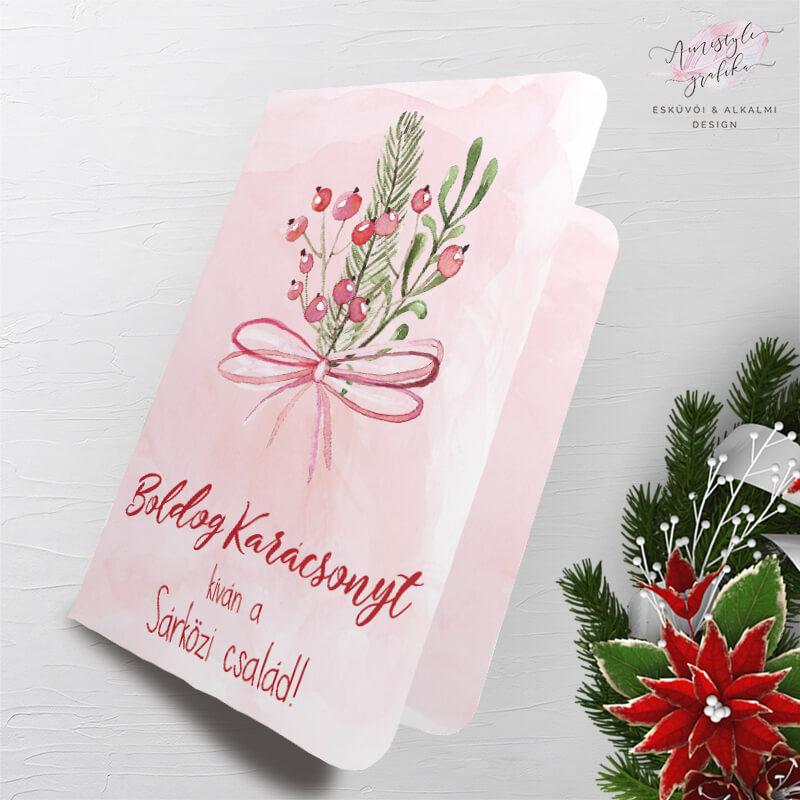 Masnis Karácsonyi Üdvözlőlap Ajándékcímkével - Púder