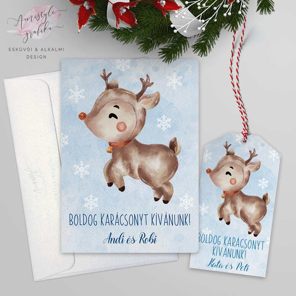 Rénszarvasos Karácsonyi Képeslap Ajándékcímkével