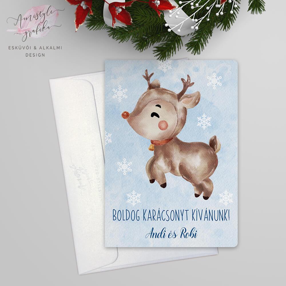 Karácsonyi Rénszarvasos Képeslap