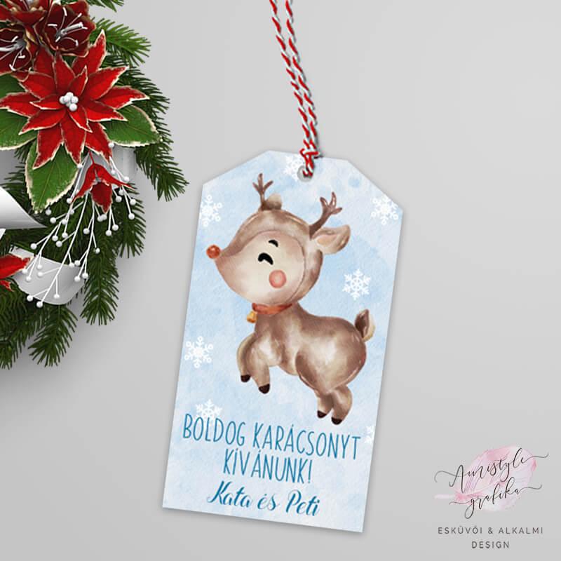 Karácsonyi Rénszarvasos Ajándékkísérő Kártya