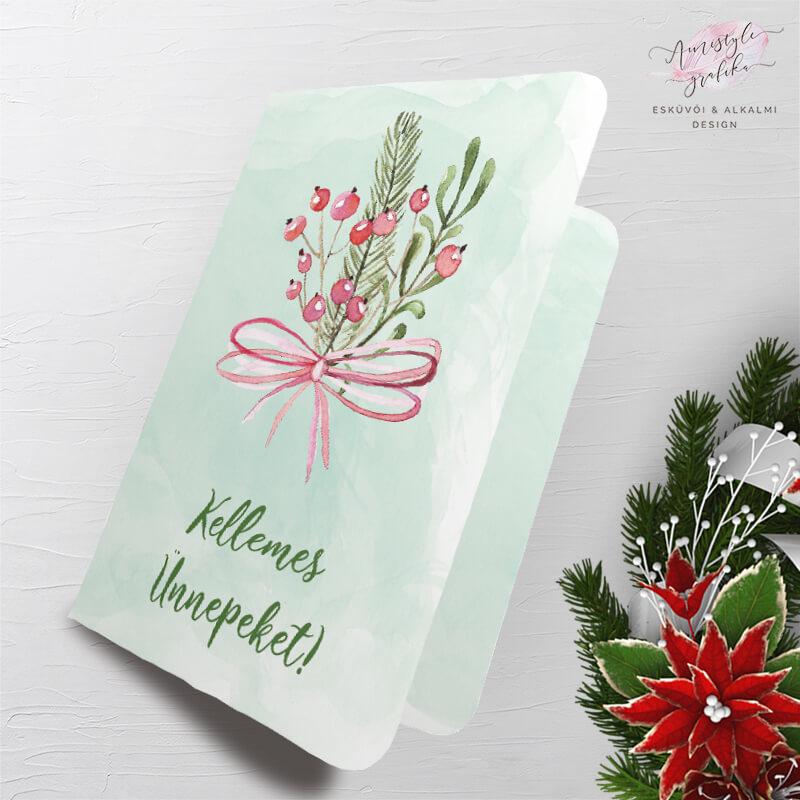 Masnis Karácsonyi Képeslap Ajándékcímkével - Zöld
