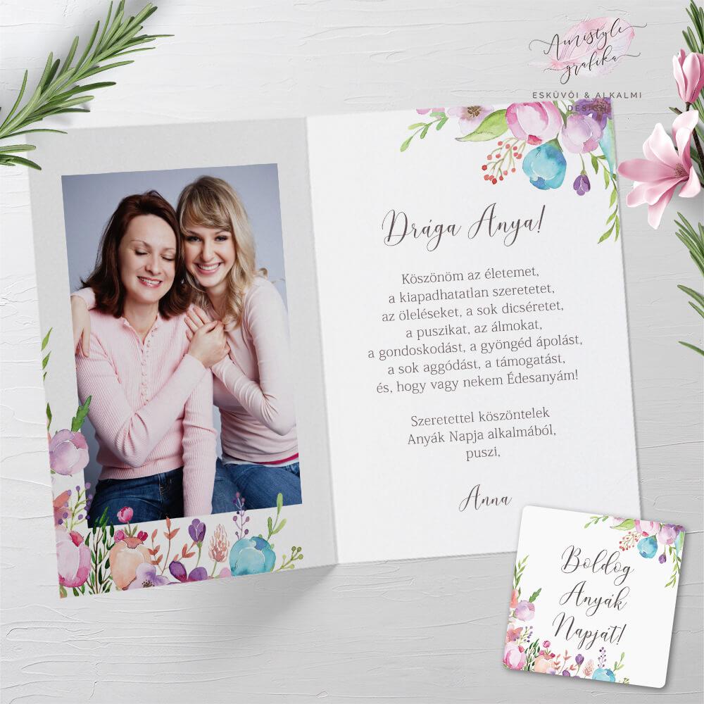 Virágos Anyák Napi Fényképes Üdvözlőlap Ajándékkísérő Kártyával