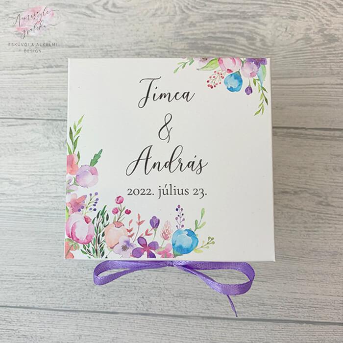 Floral Dobozos Esküvői Meghívó